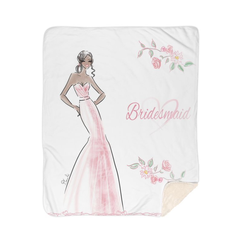 Bridesmaid - Pink Dress - 1 Home Sherpa Blanket Blanket by deannakei's Artist Shop