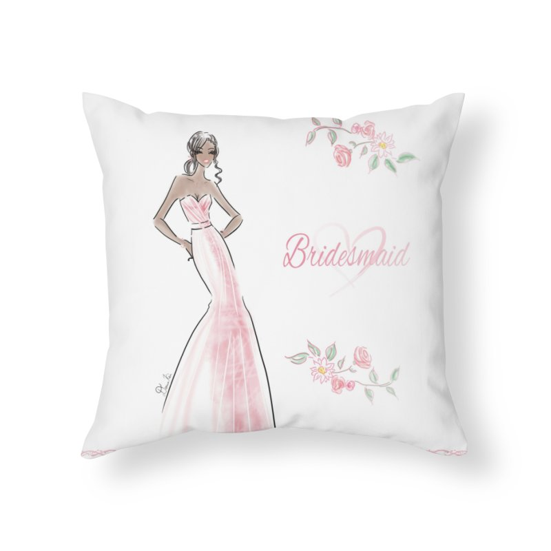 Bridesmaid - Pink Dress - 1 Home Throw Pillow by deannakei's Artist Shop