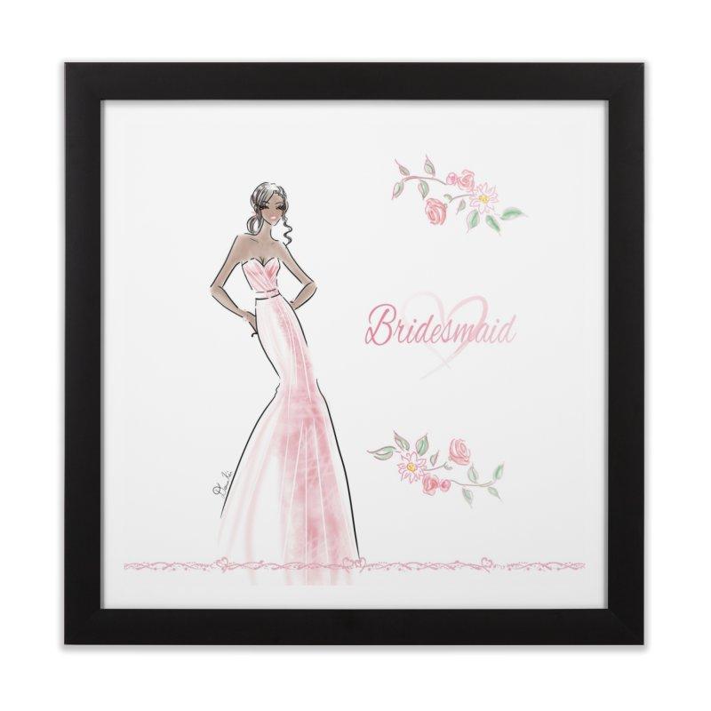 Bridesmaid - Pink Dress - 1 Home Framed Fine Art Print by deannakei's Artist Shop