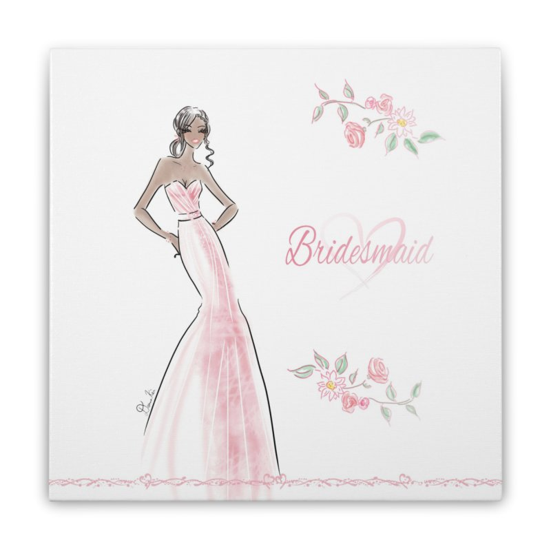 Bridesmaid - Pink Dress - 1 Home Stretched Canvas by deannakei's Artist Shop