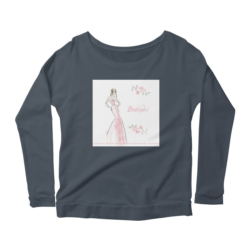 Bridesmaid - Pink - 2 Women's Scoop Neck Longsleeve T-Shirt by Deanna Kei's Artist Shop