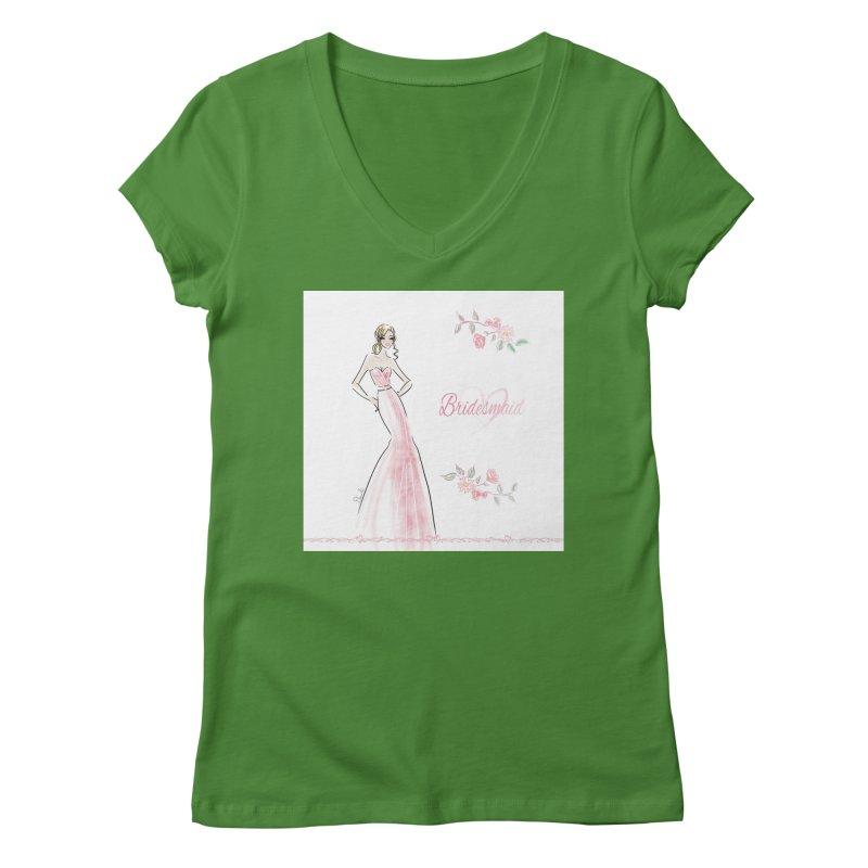 Bridesmaid - Pink - 2 Women's Regular V-Neck by deannakei's Artist Shop