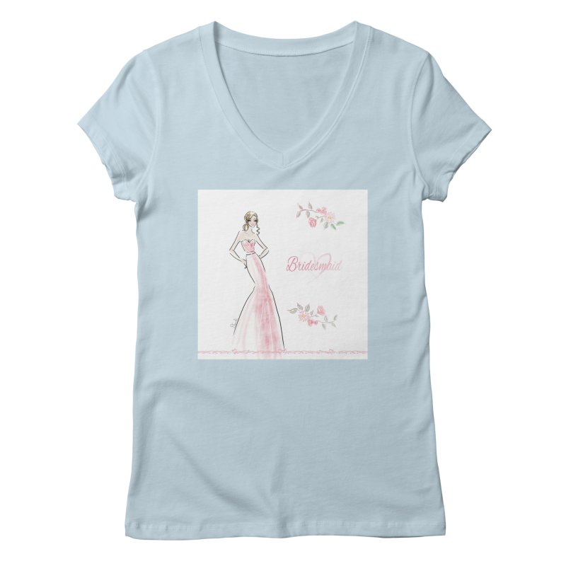 Bridesmaid - Pink - 2 Women's Regular V-Neck by Deanna Kei's Artist Shop