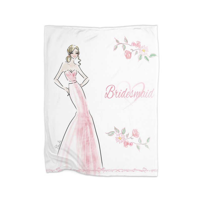 Bridesmaid - Pink - 2 Home Fleece Blanket Blanket by Deanna Kei's Artist Shop