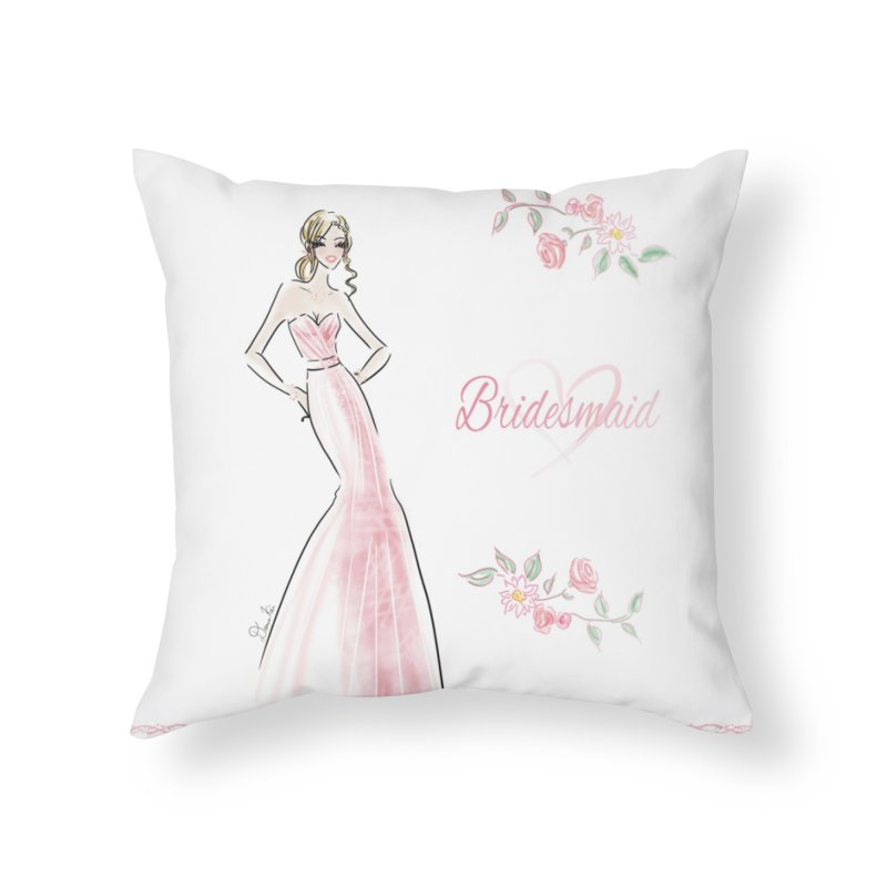 Bridesmaid - Pink - 2 Home Throw Pillow by deannakei's Artist Shop