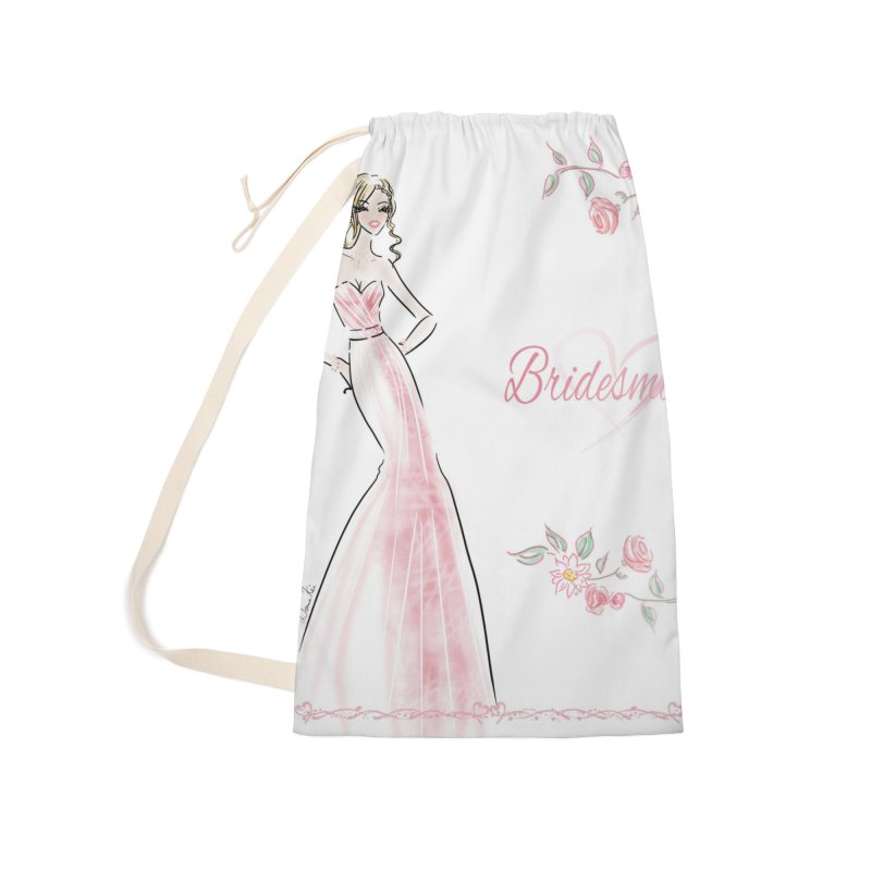 Bridesmaid - Pink - 2 Accessories Laundry Bag Bag by deannakei's Artist Shop