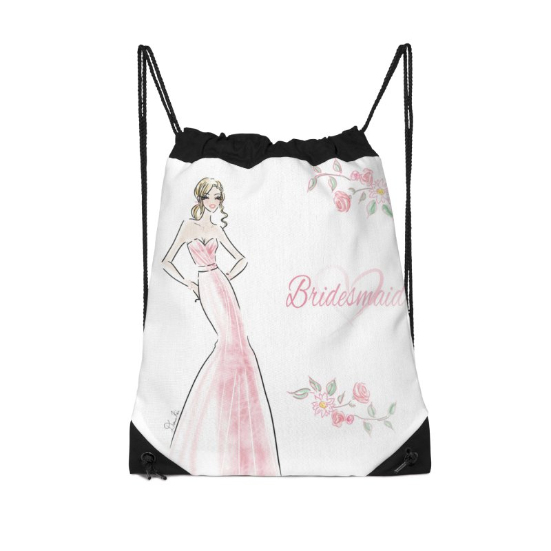 Bridesmaid - Pink - 2 Accessories Drawstring Bag Bag by deannakei's Artist Shop
