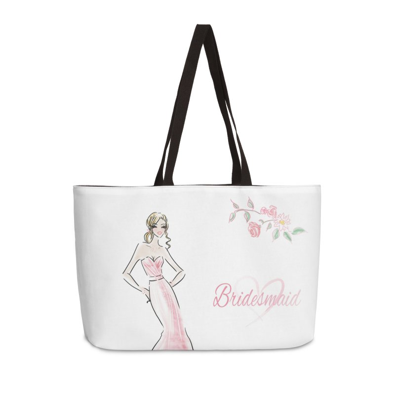 Bridesmaid - Pink - 2 Accessories Weekender Bag Bag by deannakei's Artist Shop