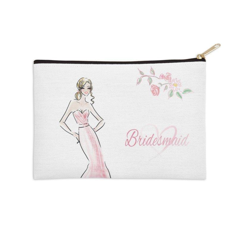Bridesmaid - Pink - 2 Accessories Zip Pouch by deannakei's Artist Shop