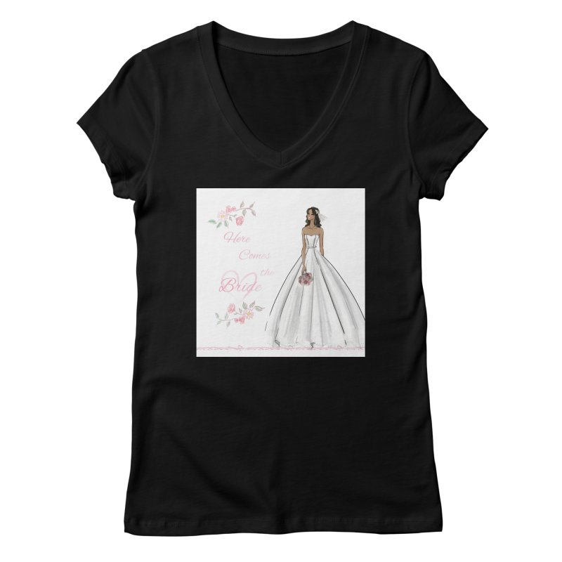 Here Comes the Bride - dark Women's V-Neck by Deanna Kei's Artist Shop