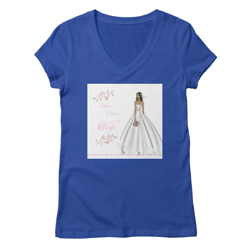 Here Comes the Bride - dark Women's Regular V-Neck by deannakei's Artist Shop