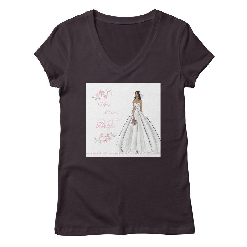 Here Comes the Bride - dark Women's Regular V-Neck by Deanna Kei's Artist Shop