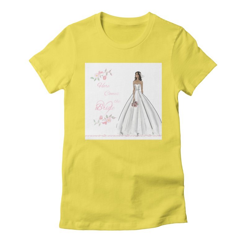 Here Comes the Bride - dark Women's Fitted T-Shirt by deannakei's Artist Shop