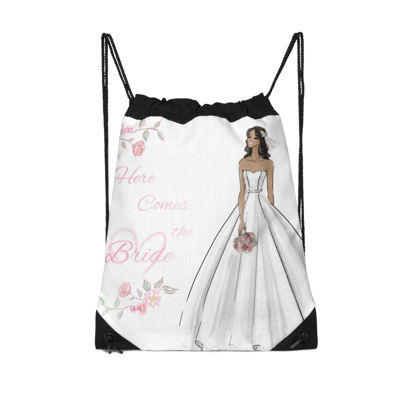 Here Comes the Bride - dark Accessories Drawstring Bag Bag by deannakei's Artist Shop