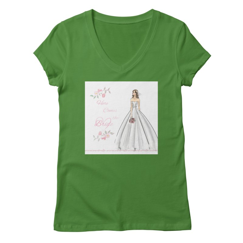 Here Comes The Bride- Light Women's Regular V-Neck by Deanna Kei's Artist Shop