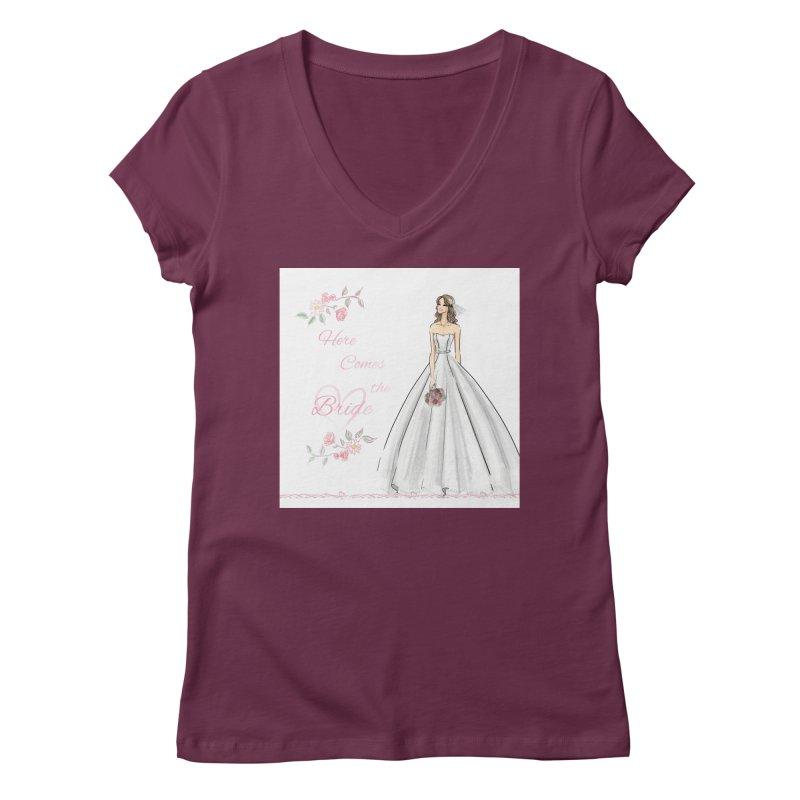 Here Comes The Bride- Light Women's Regular V-Neck by deannakei's Artist Shop