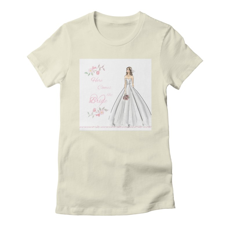 Here Comes The Bride- Light Women's Fitted T-Shirt by Deanna Kei's Artist Shop