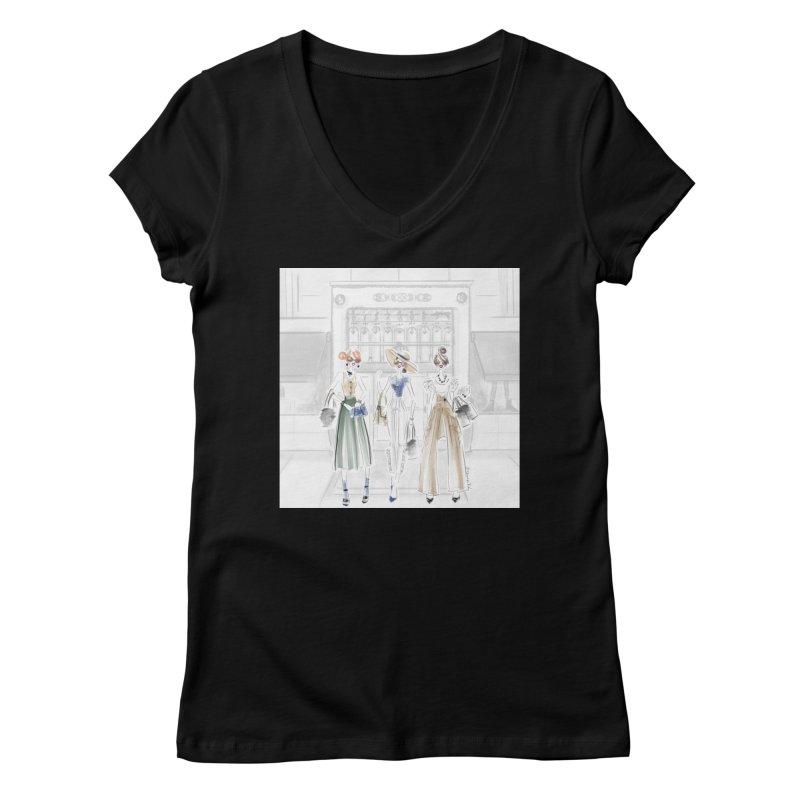 5th Avenue Girls Women's V-Neck by Deanna Kei's Artist Shop