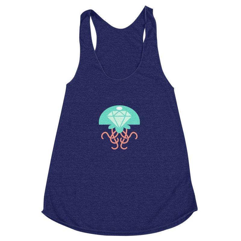 Jeweled Jungle Jellyfish Women's Racerback Triblend Tank by deantrippe's Artist Shop