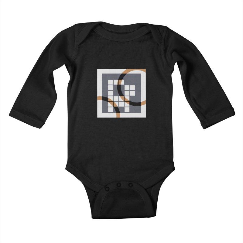 Calico Crossword Cat Kids Baby Longsleeve Bodysuit by deantrippe's Artist Shop