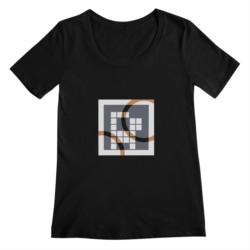 Calico Crossword Cat Women's Scoopneck by deantrippe's Artist Shop