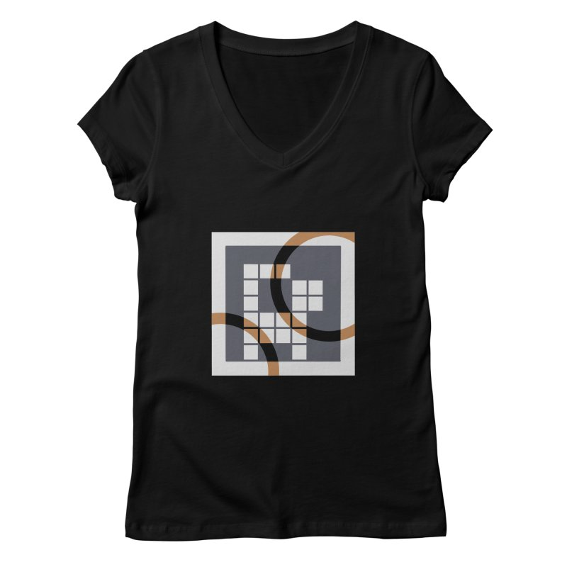 Calico Crossword Cat Women's V-Neck by deantrippe's Artist Shop