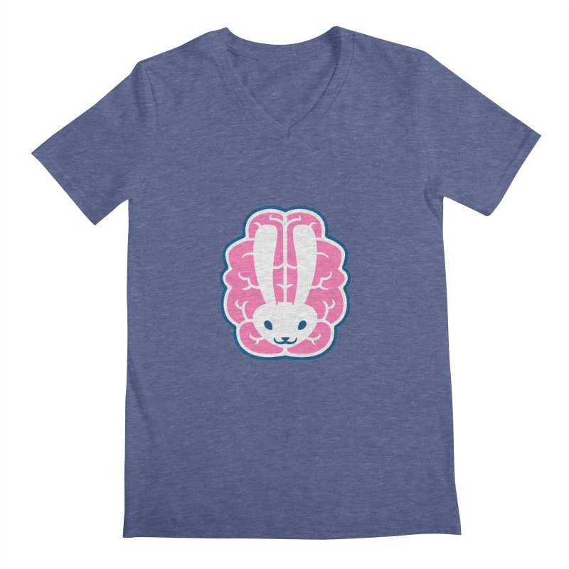 Bubblegum Brain Bunny Men's V-Neck by deantrippe's Artist Shop