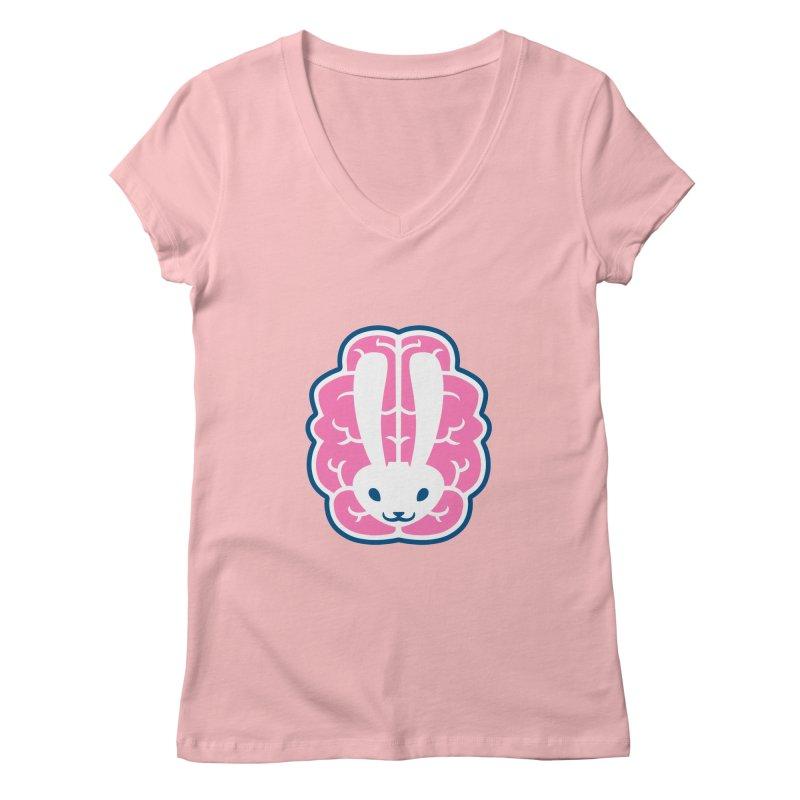 Bubblegum Brain Bunny Women's V-Neck by deantrippe's Artist Shop