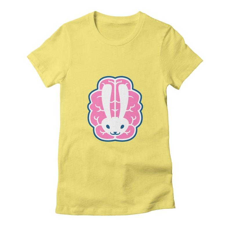 Bubblegum Brain Bunny Women's Fitted T-Shirt by deantrippe's Artist Shop