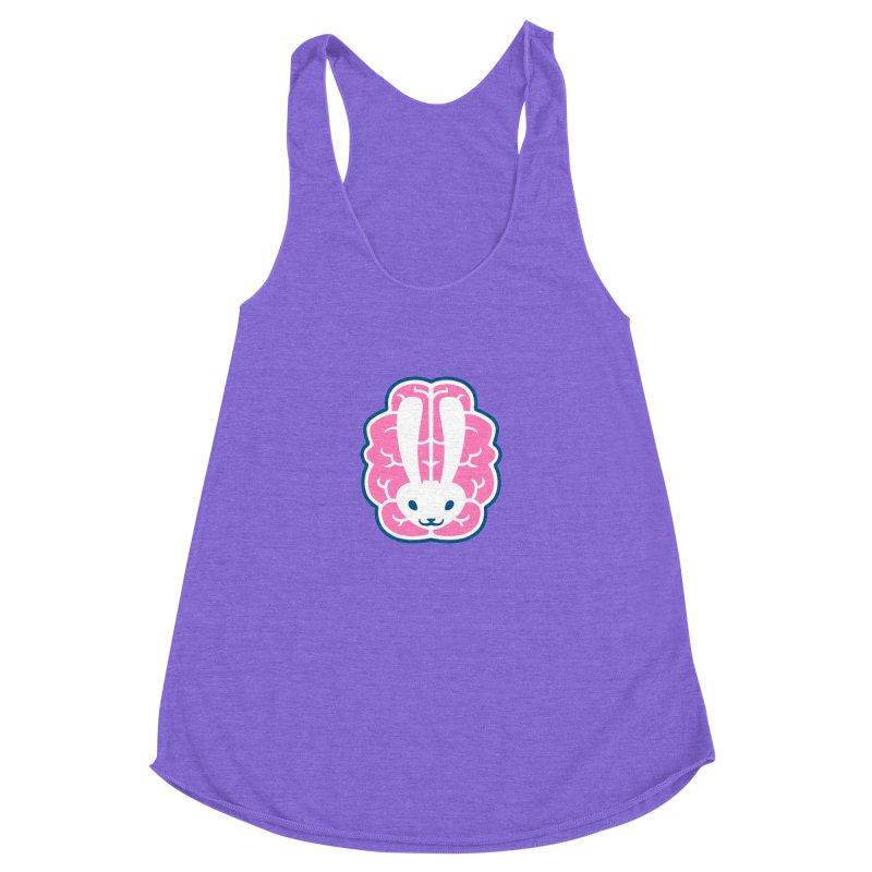 Bubblegum Brain Bunny Women's Racerback Triblend Tank by deantrippe's Artist Shop