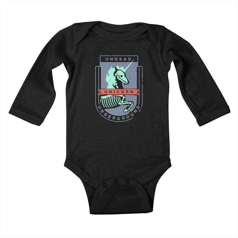 Undead Unicorn Underground Kids Baby Longsleeve Bodysuit by deantrippe's Artist Shop