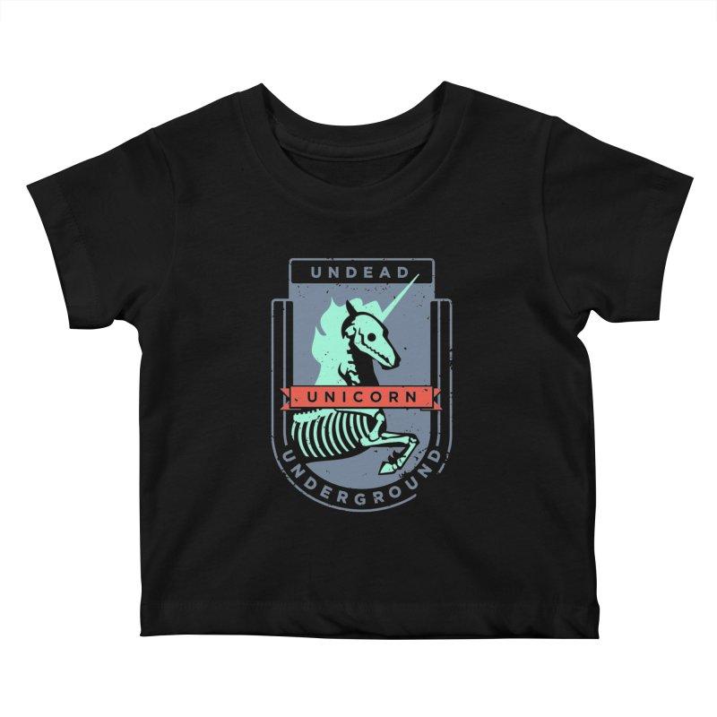 Undead Unicorn Underground Kids Baby T-Shirt by deantrippe's Artist Shop