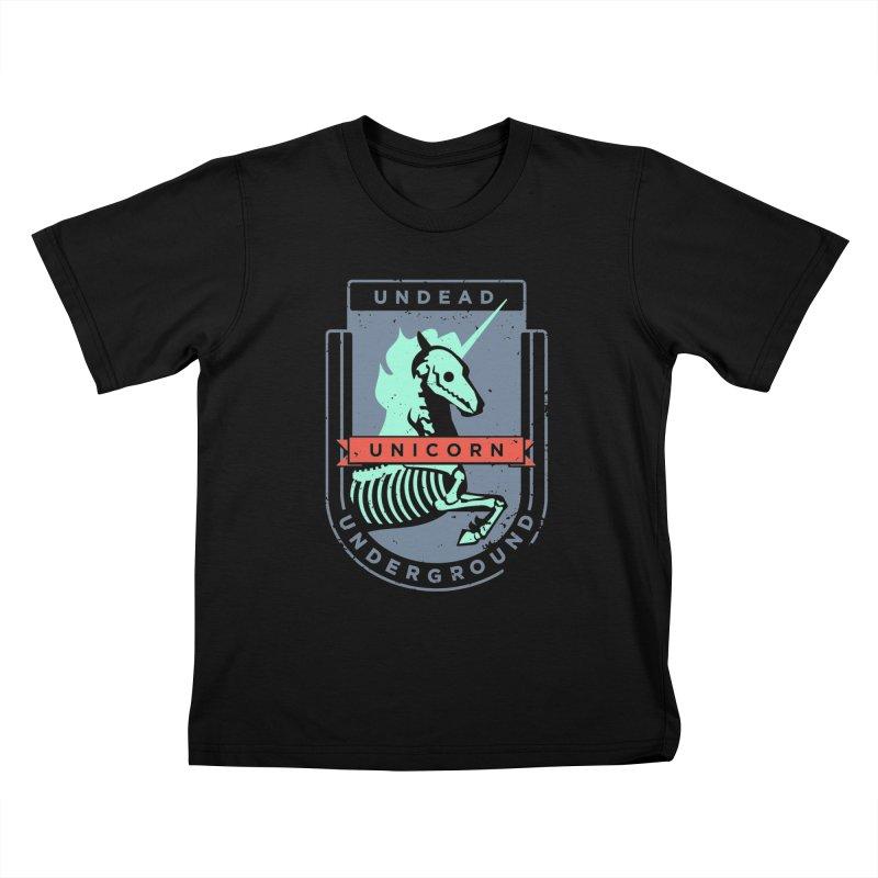 Undead Unicorn Underground Kids T-Shirt by deantrippe's Artist Shop