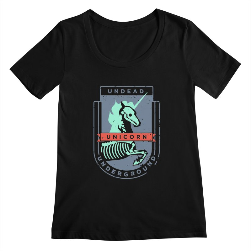 Undead Unicorn Underground Women's Scoopneck by deantrippe's Artist Shop