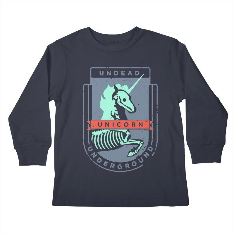 Undead Unicorn Underground Kids Longsleeve T-Shirt by deantrippe's Artist Shop