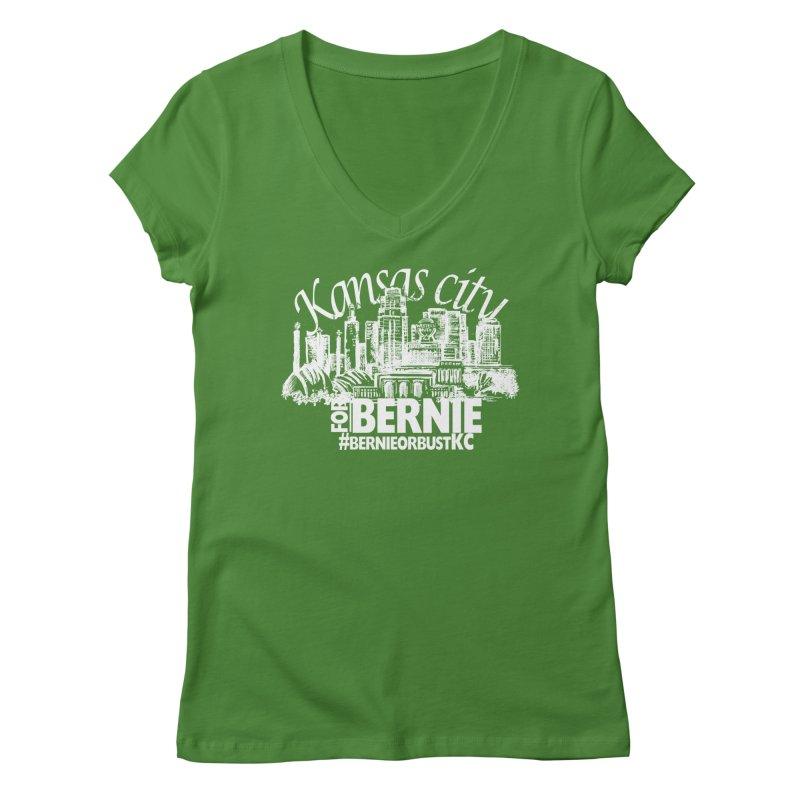 KC for Bernie! Women's V-Neck by deathandtaxes's Artist Shop