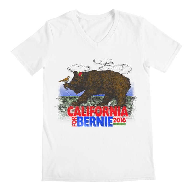 California For Bernie! Bear and Sparrow Men's V-Neck by deathandtaxes's Artist Shop