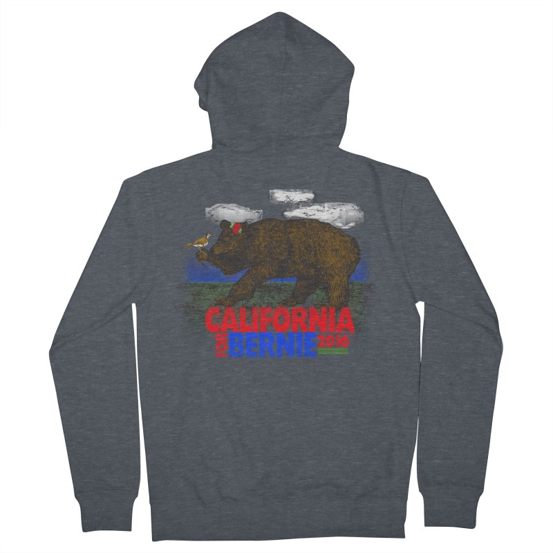 California For Bernie! Bear and Sparrow Men's French Terry Zip-Up Hoody by deathandtaxes's Artist Shop