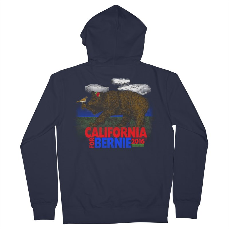 California For Bernie! Bear and Sparrow Men's Zip-Up Hoody by deathandtaxes's Artist Shop
