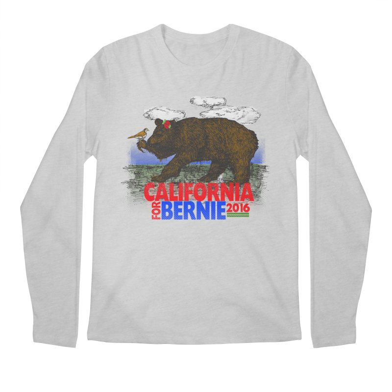 California For Bernie! Bear and Sparrow Men's Regular Longsleeve T-Shirt by deathandtaxes's Artist Shop