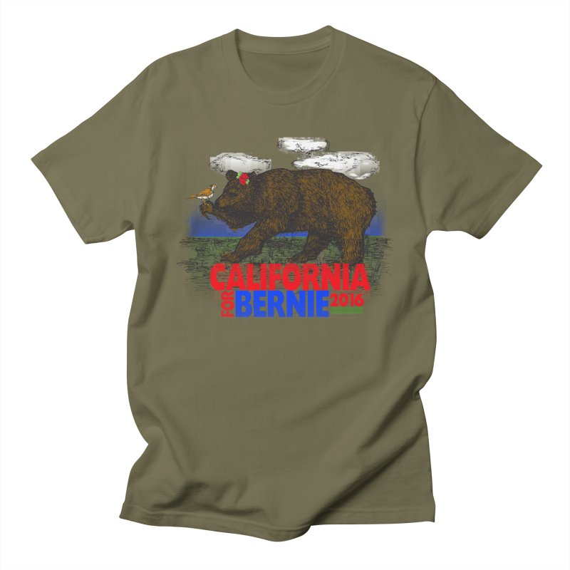 California For Bernie! Bear and Sparrow Men's T-shirt by deathandtaxes's Artist Shop