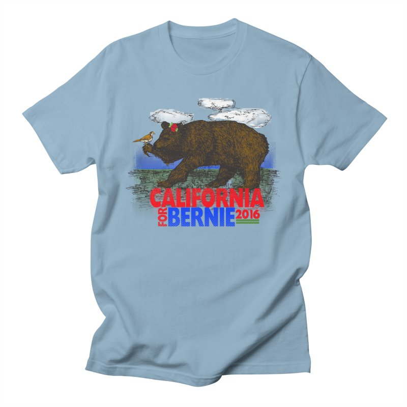 California For Bernie! Bear and Sparrow in Men's Regular T-Shirt Light Blue by deathandtaxes's Artist Shop