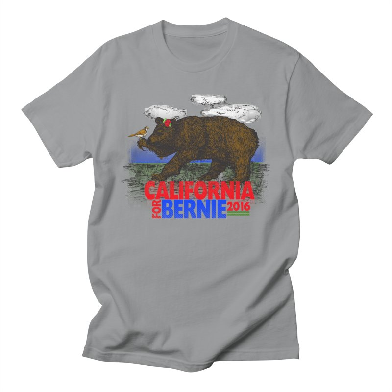 California For Bernie! Bear and Sparrow Men's Regular T-Shirt by deathandtaxes's Artist Shop