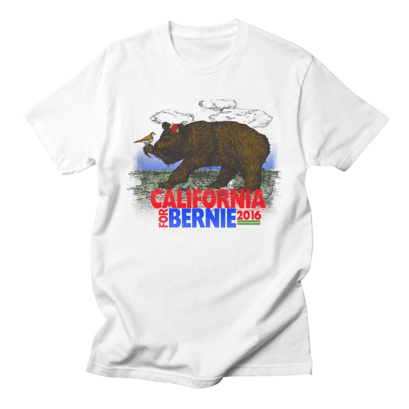 California For Bernie! Bear and Sparrow in Men's Regular T-Shirt White by deathandtaxes's Artist Shop