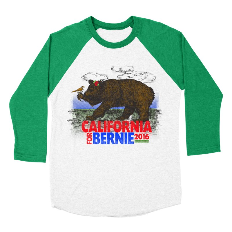 California For Bernie! Bear and Sparrow Women's Baseball Triblend T-Shirt by deathandtaxes's Artist Shop
