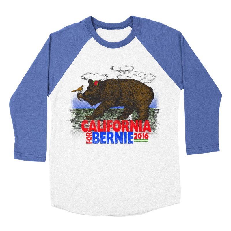 California For Bernie! Bear and Sparrow Men's Baseball Triblend T-Shirt by deathandtaxes's Artist Shop