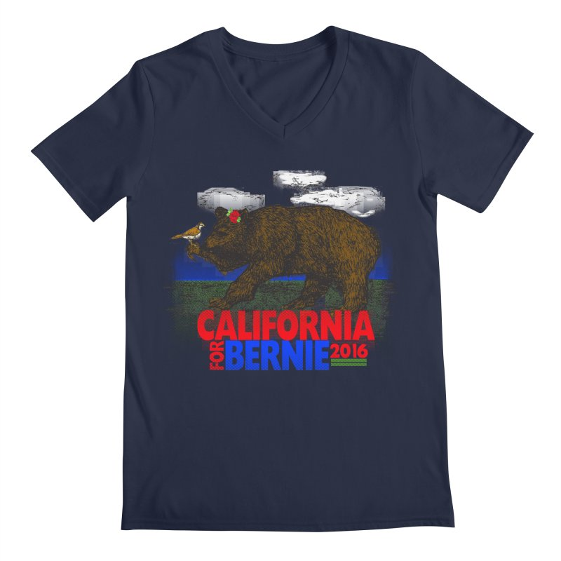 California For Bernie! Bear and Sparrow Men's Regular V-Neck by deathandtaxes's Artist Shop