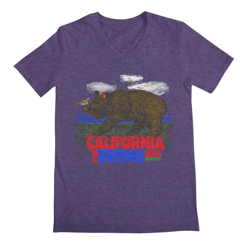 California For Bernie! Bear and Sparrow Men's Regular V-Neck by deathandtaxes's Artist Shop