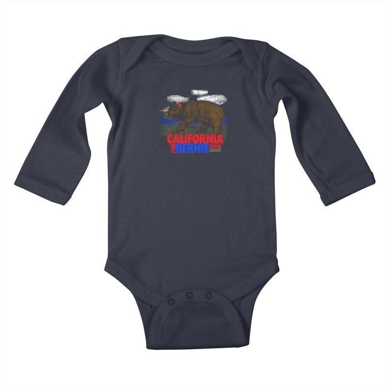 California For Bernie! Bear and Sparrow Kids Baby Longsleeve Bodysuit by deathandtaxes's Artist Shop