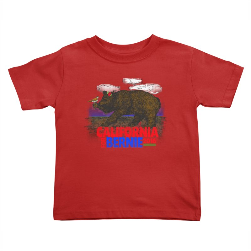 California For Bernie! Bear and Sparrow Kids Toddler T-Shirt by deathandtaxes's Artist Shop